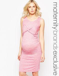 Image 1 of Mamalicious Ruched Front Jersey Midi Dress