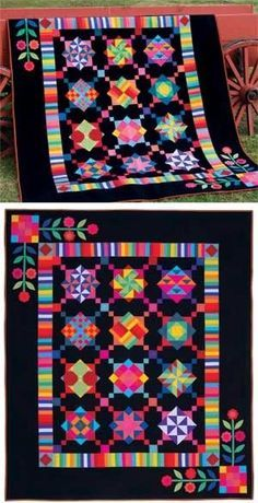 Beautiful quilt with bold, eye-catching colors and patterns