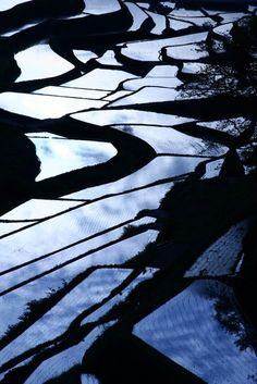 Terraced paddy fields in Saga, Japan 浜野町の棚田