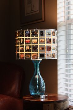 CUSTOM - New Aqua / Turquoise Glass Table Lamp with Lampshade made from YOUR SLIDES. $275.00, via Etsy.