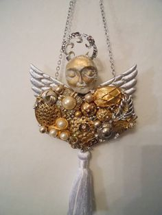 Costume Jewelry Art, Jewelry Collage, Angel Art Assemblage, Jewelry Art, Wall Art, Heart Art, Silver and Gold via Etsy