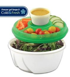 perfect for school!    Stay Fit Deluxe Salad Kit,EZ Freeze: Amazon.com: Kitchen & Dining