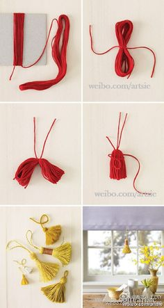 tassel on back of chairs made out floss and tied with golden thread the same braid as the embroidery on invite