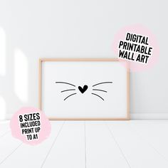 DIGITAL DOWNLOAD Cat Nose & Whiskers Print Printable Wall   Etsy