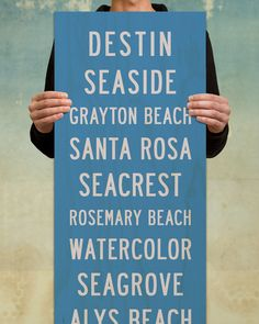 The Seaside Beach Sign on Wood by Transit Design. 12 x 36 Subway Style Art with classic Florida Beach Theme.
