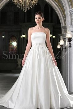 Wedding Dress by SimplyBridal. The Helena gown is a classic and majestic ball gown. Made of luxurious satin with a perfectly beaded waistline and a straight neckline, this is the ball gown every little girl dreams about. Perfect for a church wedding but would also look stunning in an e. USD $599.99
