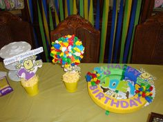My Wubbzy wreath and centerpieces for my prince's birthday party.