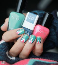 Mint white and pink triangle nails...cute!!!