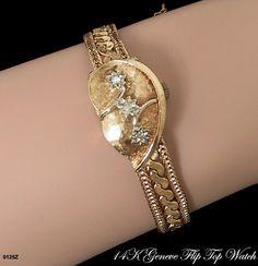 Vintage 14K Solid Gold Flip Top Bracelet Watch by AntiquingOnLine