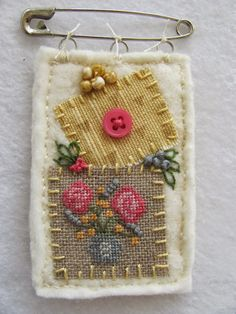 Stitch An Inch Spring Orni, 1 of 9 designs By The Bay Needleart fabric crafts, Textile Jewelry, Fabric Jewelry, Textile Art, Jewellery, Sewing Art, Sewing Crafts, Sewing Projects, Embroidery Stitches, Hand Embroidery
