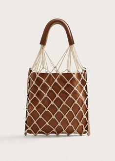Mango Combined Net Bag - Medium Brown One Size Leather Handle, Leather Bag, Leather Totes, Diy Sac, Net Bag, Macrame Bag, Designer Shoulder Bags, Basket Bag, Large Bags
