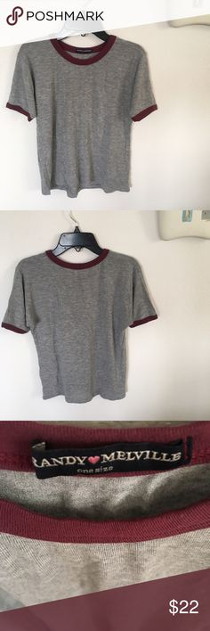Brandy Melville Tee With Red Trim This will be your go to Tee to pair with everything. So soft. New without tags. Made in the USA. Brandy Melville Tops Tees - Short Sleeve