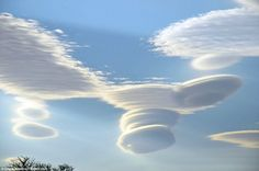 Rare spectacle: These lenticular clouds, also known as altocumulus standing…