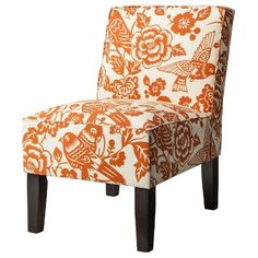 Vale Open Back Slipper Accent Chair Floral Graffiti