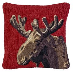 Velvet Moose Chandler 4 Corners Hooked Pillow SKU: square hand-hooked pillow, natural wool, with zippered velveteen backing, poly-fill. Wool Pillows, Throw Pillows, Wool Rugs, Cushions, Latch Hook Rugs, Red Hook, Rug Hooking Patterns, Hand Hooked Rugs, Animal Quilts