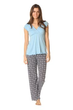 Majamas Genna Nursing PJ Set in Surf & Fleur De Lis. Please use coupon code NewProducts to receive 15% off these items. To receive the discount, please place your order by midnight Monday, May 11, 2015
