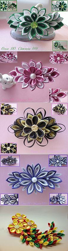 theme - Jewellery in kanzashi technology. Our friend from work. Satin Ribbon Flowers, Cloth Flowers, Ribbon Art, Diy Ribbon, Fabric Ribbon, Ribbon Crafts, Flower Crafts, Diy Flowers, Fabric Flowers