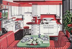 1946 American Gas Assn – Alcove Kitchen Red and white gingham kitchen. Found in Ladies Home Journal. Personally, I like the flip down counter by the stool. Home Interior, Interior Design Kitchen, Kitchen Decor, Scandinavian Interior, Interior Decorating, Kitchen Layout, Kitchen Designs, Modern Interior, Red And White Kitchen