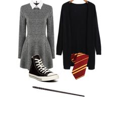 Harry Potter costume by ashlync1234 on Polyvore featuring moda and Converse