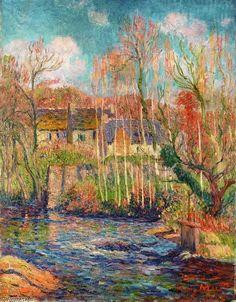 """""""Printemps à Pont Aven"""", huile sur toile de Henri Moret (1856-1913)"""