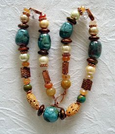 Raku Pottery Bead Necklace Free Shipping Pearl by MicheleMorehouse, $35.00