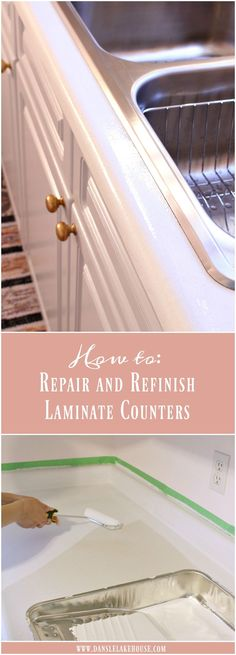 How to Repair and Refinish Laminate Counters // Chipped and peeling laminate counters?  You can fix that! // Rust-Oleum Countertop Transformations Review - Mica White // Budget Kitchen Updates // Pink and Grey Kitchen