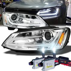 HID Xenon + 2011-2013 Volkswagen Jetta Euro Style LED DRL Projector Headlights - Chrome