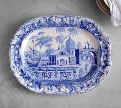 Constantinople Ceramic Transferware Tray #potterybarn