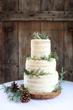 Wedding Winter Cake Frostings 54 Ideas For 2019 Wedding Cake Rustic, Beautiful Wedding Cakes, Wedding Cake Simple, Rustic Cake, Perfect Wedding, Winter Engagement Party, Evergreen Wedding, Winter Wedding Decorations, Winter Wedding Cakes