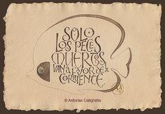 Frase. Nogalina y oro sobre papel artesanal.  © Andrés Antón Díez