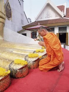 Praying and making offerings to the Buddha