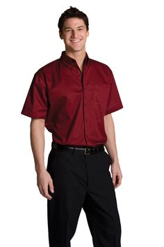 Mens Button Down Shirt, short sleeve  #embroidery #logo #custom #jackets #printed #screen #polo #apron #personalized #clothing