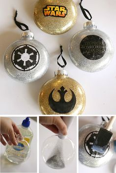 DIY Glitter Star Wars Symbol Ornaments - Fun and easy DIY Christmas Ornament craft tutorial on MyPrintly.com that's great for kids, families, or any Star Wars lovers out there.