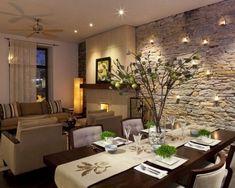 comedores con paredes de piedra: