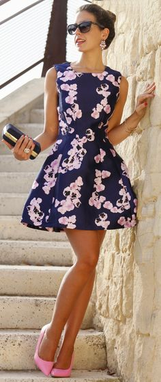 Orchid Print Fit And Flare Little Dress by 1sillaparamibolso