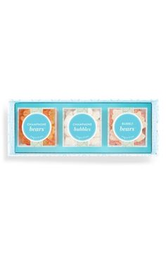 $28 Free shipping and returns on Sugarfina Cheers Champagne 3-Piece Candy Bento Box at Nordstrom.com. Kick off the celebration with a chic trio of champagne-inspired candies: Champagne Bears, Champagne Bubbles and Bubbly Bears. Each flavor comes displayed in its own Lucite® compartment, and together the three cubes are packaged in a signature aqua gift box with a festive sleeve.