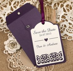 Purple String Tie Envelope with Save the Date Tag from RazzleDazzleRose.co.uk