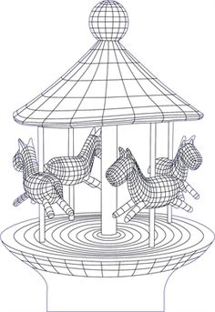 3D illusion carousel premium vector drawing