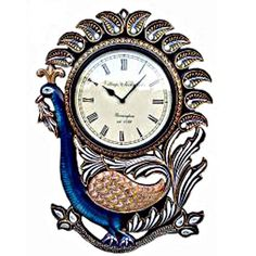 Antique Carving Peacock Wall Clock