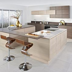 Kitchen, Contemporary Two Tone Kitchen Cabinets With Two Tone Design And Cool Unique Barstools As Well As Modern Faucet And Oven ~ Elegant Two Tone Kitchen Cabinets with Nice Color Combination Gloss Kitchen, New Kitchen, Kitchen Decor, Kitchen Ideas, Kitchen Inspiration, Kitchen Designs, Kitchen Dining, Dining Room, Two Tone Kitchen Cabinets