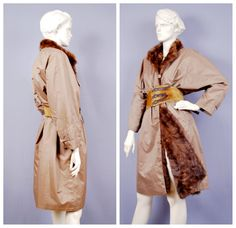 Vintage Real Mink Fur Lined Mac Trench Coat Fully Reversible