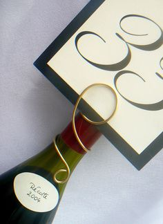 Wine Table Name & Number Holder, Wedding Decorations, Bridal Shower, Rehearsal Dinner, Parties