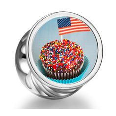 Soufeel Cupcake american Flag independence Day Cylindrical Photo Charms Fit Pandora Bracelets Soufeel,