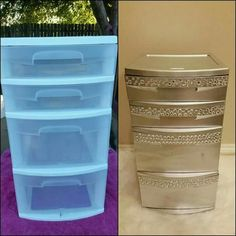 Diy furniture, Diy office, Plastic drawer makeover, Diy house projects, Diy f. Office Storage, Diy Storage, Storage Organization, Storage Ideas, Storage Drawers, Makeup Organization, Organization Ideas, Dollar Store Bins, Dollar Stores