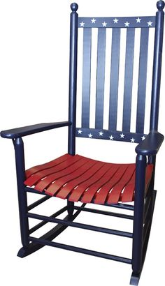 How to Decorate with an Americana Theme Americana Crafts, Patriotic Crafts, Patriotic Decorations, July Crafts, Summer Crafts, Holiday Decorations, White Wooden Rocking Chair, Painted Rocking Chairs, Painted Wooden Chairs