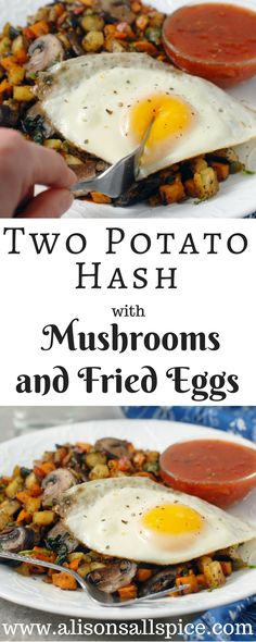 This two potato hash with mushrooms and fried eggs can be a great meatless dinner, or a hearty breakfast that will keep you going all day long! Potato Mushroom Recipe, Potato Hash Recipe, Sweet Potato Hash, Breakfast Hash, Vegetarian Breakfast, Breakfast Recipes, Meat Recipes For Dinner, Vegetarian Recipes, Vegan Meals
