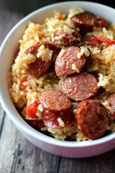 Cheesy Sausage Rice Skillet - Recipes to Cook - Sausage Recipes Sausage And Rice Casserole, Sausage Rice, Casserole Recipes, Sausage Meals, Pork Meals, Chicken Sausage, Easy Soup Recipes, Pork Recipes, Dinner Recipes