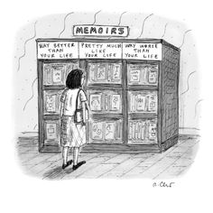 A woman stands in front of a bookshelf of memoirs in a bookstore.  - New Yorker Cartoon Premium Giclee Print