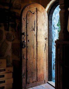 a beautiful tuscan wine cellar door Cool Doors, Unique Doors, Rustic Doors, Wooden Doors, Witch Cottage, Cottage Door, Wooden Cottage, Rustic Cottage, Door Knockers