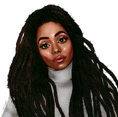 @hoetips✨ for more Black Love Art, Black Girl Art, Black Girl Magic, Art Girl, Natural Hair Art, Natural Hair Styles, Beautiful Dreadlocks, Black Cartoon, Black Artwork